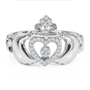 Helzberg Sterling Silver and Diamond Claddagh Ring